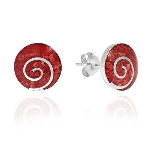 - Charming Swirl Reconstructed Red Coral Round Disc .925 Sterling Silver Post Earrings