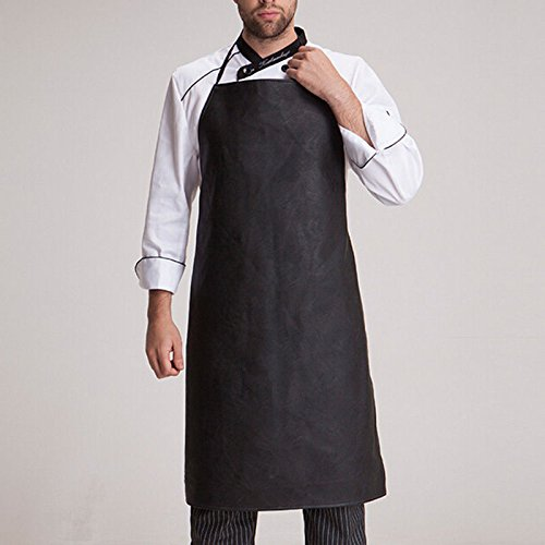 Chef Apron Men Faux Leather Bib Aprons Oilproof Pinafore Kithcen Cooking Dress N@N