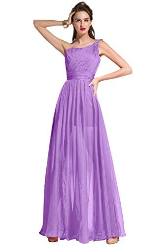 sunvary modesto One para el hombro de volantes dreses de noche para novia longitud de suelo Lilac