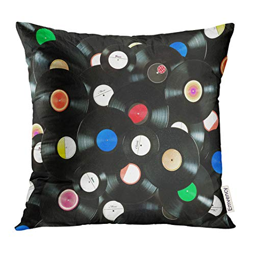 VANMI Throw Pillow Cover Vynil Abstract Music Colorful Made of Vintage Vinyl Records Over White All Labels Designed by Myself Old Decorative Pillow Case Home Decor Square 18x18 Inches Pillowcase