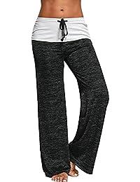 Women's Foldover Heather Drawstring Wide Leg Lounge Yoga Pants