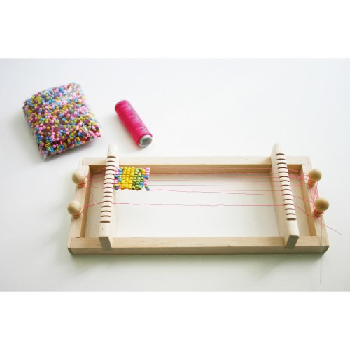 Eduplay Perlen-Webrahmen, aus Holz, inklusive 100g bunter Perlen