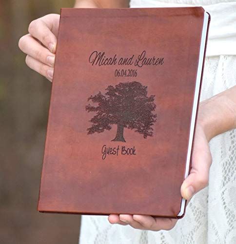 Leather Engraved Oak Tree Book - Wedding Guest Book - Leather Journal - Personalized Journal - Personalized Gift - Guest Book Alternative - Personalized Leather Journal by Country Barn Babe