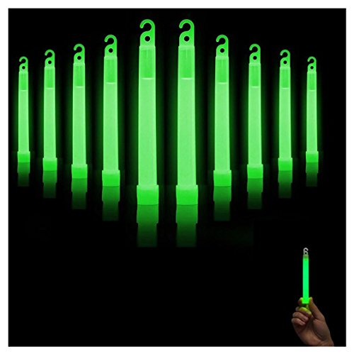 "Green Glow Sticks, Kemilove Premium Bright 6"" SnapLight Sticks with 12 Hour Duration"