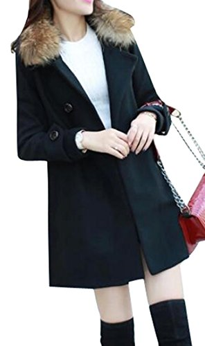 Solid Color Coat Outerwear Black - 1