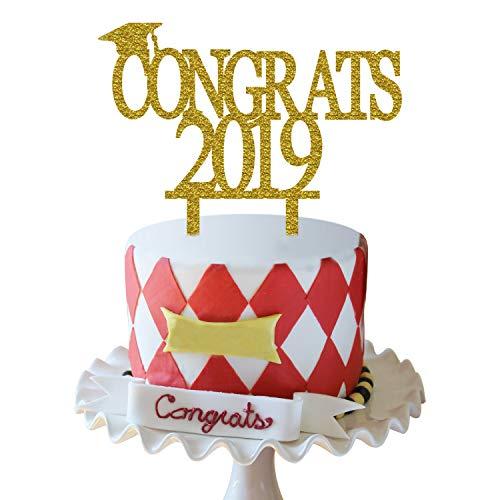 Gold Congrats 2019 Cake Topper | Acrylic Graduation Cake Toppers 2019 | Graduation Cake Decorations | Grad Party Decorations | Graduation Party Supplies ()