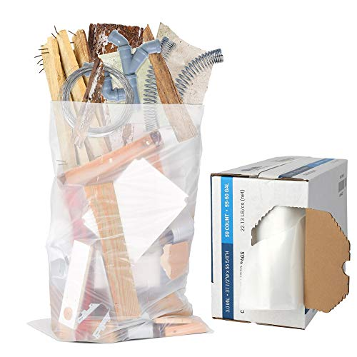 "Plasticplace Contractor Trash Bags 55-60 Gallon │ 3.0 Mil │ Clear Heavy Duty Garbage Bag │ 37.5"" x 56.6"" (50 Count)"