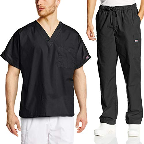(Cherokee Mens Workwear Scrub Set Medical/Dentist Uniform V-Neck Top & Cargo Pant (Black, Medium))