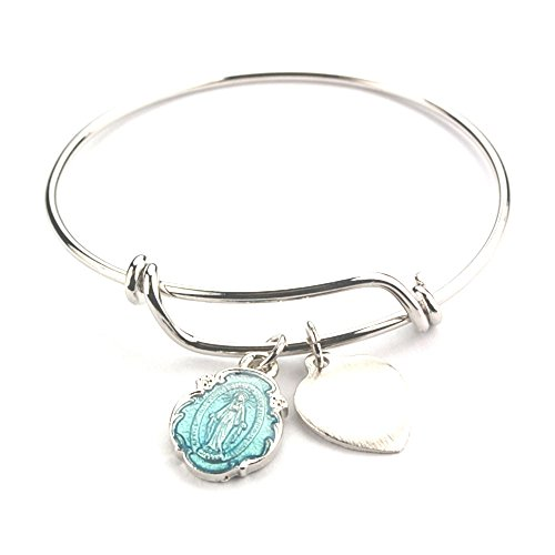 Adult Pewter Blue Miraculous Medal Bangle (Pewter Miraculous Medal)