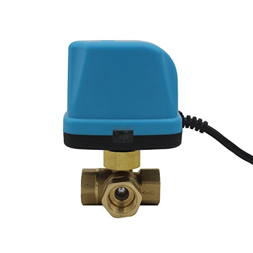 NPT - 3 way electric ball valve 1/2 3/4 1 1-1/4 inch motorized ball valve 3 wire DC5v DC12v DC24v (DC12v, 3/4 inch)