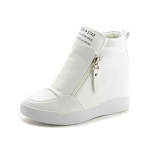 Women Autumn White Boots Fashion Summer Boots Jeff Wedge Zip Shoes Tribble Platform Increased With Sole Platform Casual Heel nEYaqW0qH