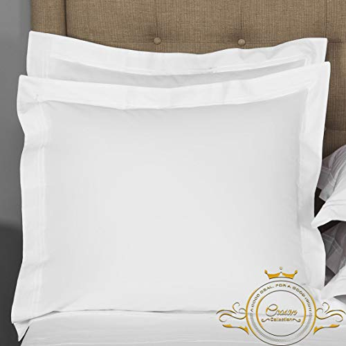 Great Deal! Crown Collection White Solid European Square Pillow Shams Set of 2 pc - Hypoallergenic 6...