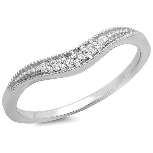 Dazzlingrock Collection 0.10 Carat (ctw) 18K White Diamond Wedding Stackable Contour Band 1/10 CT, White Gold, Size 7