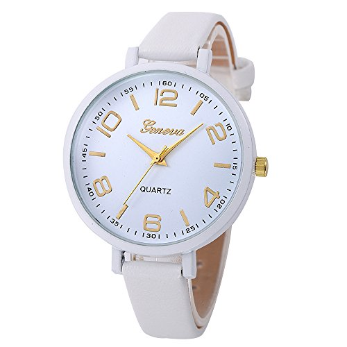 (Promise Jewelry, Muranba Women Casual Checkers Faux Leather Quartz Analog Wrist Watch (White))