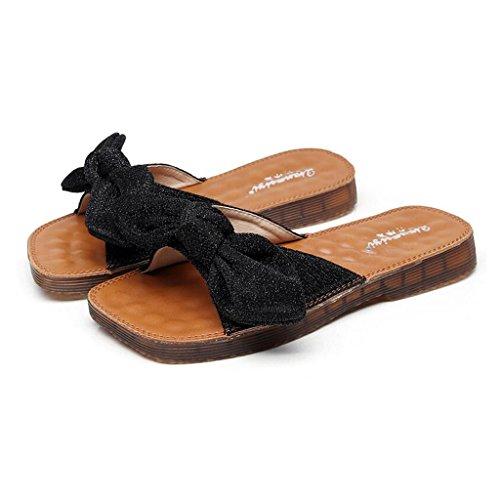 Bottom da Beach Fashion Outdoor Slippers Parola Tendine Xy® Estate Flat Sandali Slide Soft scarpe e ginnastica nero Bow Donna Pwq7ZH