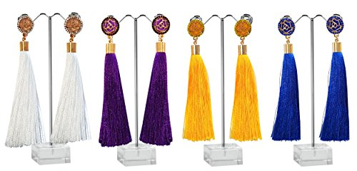 Beaded Crochet Fringe Top - AZUMARAO Bohemian Long Thread Tassel Earrings - Set of 4 Pairs - White, Royal Blue, Yellow and Purple - Gold Plated Zinc Alloy and Crystal Rhinestone