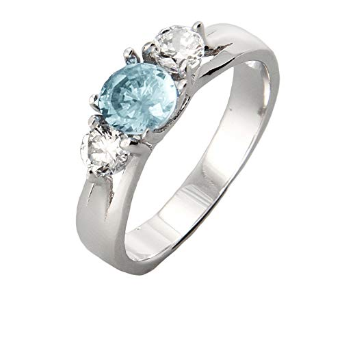 Sterling Silver Custom 3 Stone Simulated Birthstone Ring, ring sizes 5 to 9