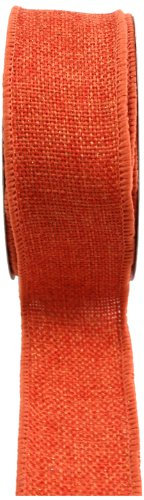 Kel-Toy RDJB138-21 Sparkle Faux Burlap Ribbon, 1.5-Inch by 10-Yard, Orange -
