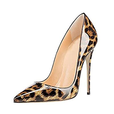 GENSHUO Women Fashion Pointed Toe High Heel Pumps Sexy Slip On Stiletto Dress Shoes 12cm LP 12