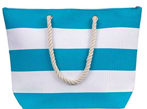 Stripe Beach Tote - X-Large Water Resistant Canvas Beach Tote Bag - Inside Lining, Zippered Inner Pocket, Fun Fashion Colors (Turquoise/White Stripe)