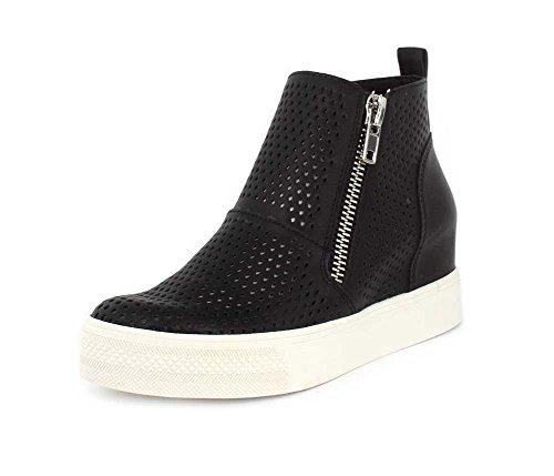 Steve Madden Women's Wedgie-P Sneaker, Dark Black, 10 M US