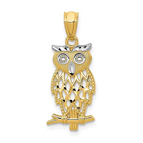 (Real 14kt Yellow Gold & Rhodium Owl)