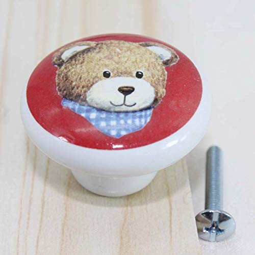 Kids konbs cartoon knobs little bear ceramic drawer knob red white porcelain dresser cupboard children room knob Toy closet pull
