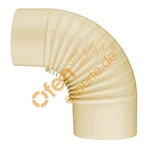 Horno Tubo, Arco, acanalados., 90°, esmaltada, diámetro 110mm, beige