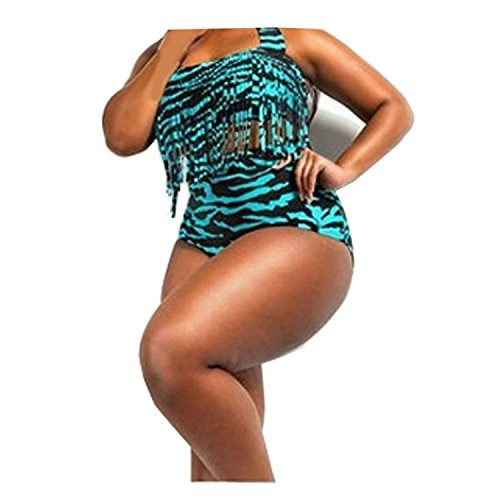 ompson Women Plus Size Exotic High Waist Tassel Bikini Set Fringe Swimwear 005XX-Large