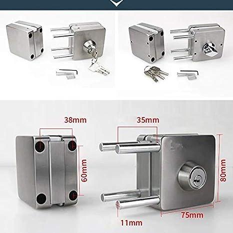 Proglam - Cerradura de puerta de cristal de acero inoxidable de 10 a 12 mm, doble cara abierta, sin perforación, 601