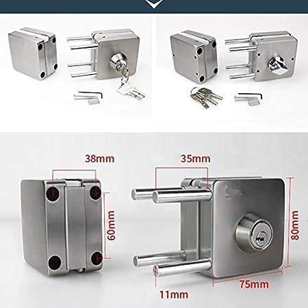 Proglam - Cerradura de puerta de cristal de acero inoxidable de 10 a 12 mm, doble cara abierta, sin perforación, 601: Amazon.es: Hogar