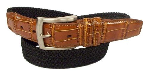 Overlay Croco - PGA TOUR Mens Braided Elastic Web Belt, Black, 42