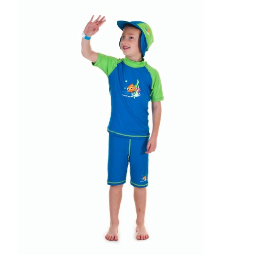 Boys Size S Blue/green Sun Uv Protective Beach Safari Swim Flap Hat for Kids Age 2-4 Years Old