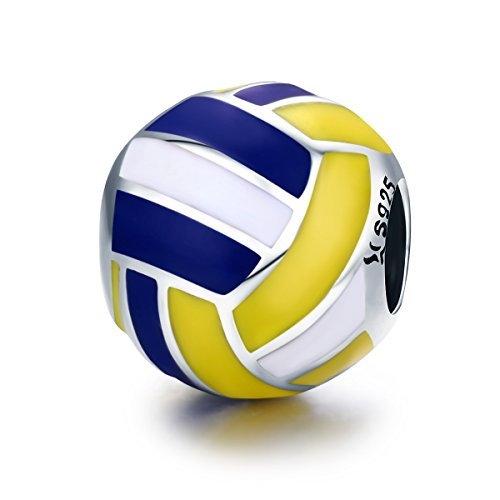 (PHOCKSIN Yellow Blue White Enamel Volleyball Bead Charms 925 Sterling Silver I Love Sports fits Bracelet)