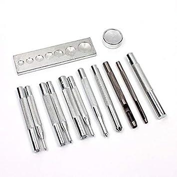 Metal Leather Craft Tool Set Die Hole Punch Snap Studs Rivet Setter Base Kit