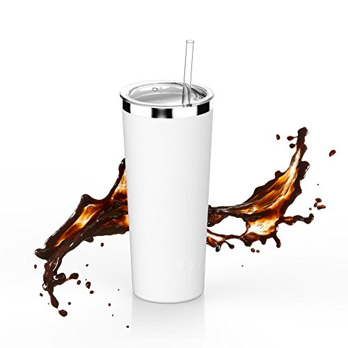 SimpleHH 22OZ Stainless Steel Tumbler Vacuum Insulated Coffee Cup Double Wall Travel Flask Mug with Lid and Straw, (Straw Cup Mug)