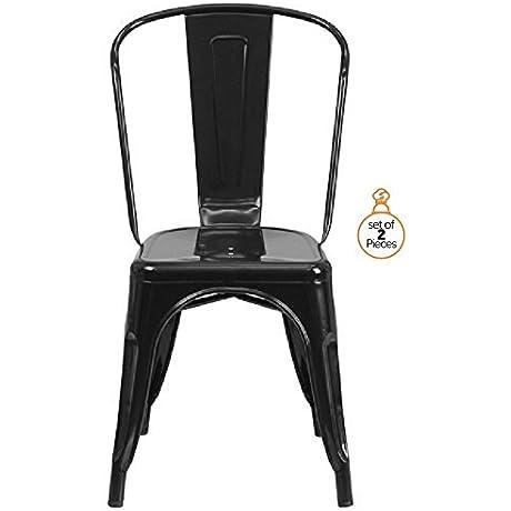 ChefGiant Metal Chairs Indoor Outdoor Stackable Black Set Of 2