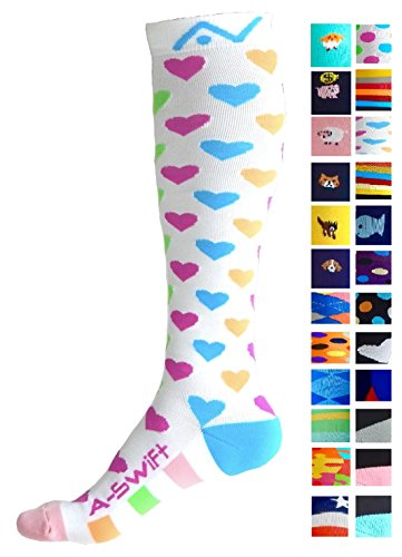 Compression Socks (1 pair) for Women & Men - Best Graduated Athletic Fit for Running, Nurses, Flight Travel, & Maternity Pregnancy - Boost Stamina, Circulation & Recovery (Happy Hearts, S/M) (Nurses Accessories)