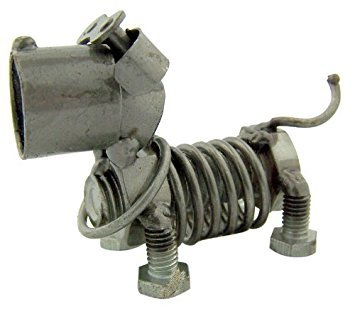 Collectible Art Sculpture Spring Dog 3 Inch Figurine Made with Recycled Metal