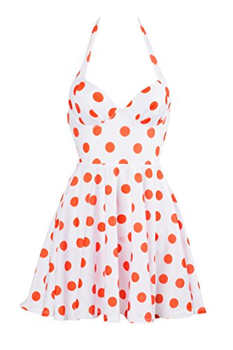 iShine Swimwear Women Push Up One Piece Polka Dot Halter Backless Bathing Suit