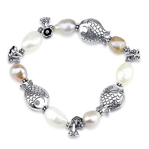 AKWAYA Three Fish Freshwater Cultured Pearl Stretch Bracelet 7.5