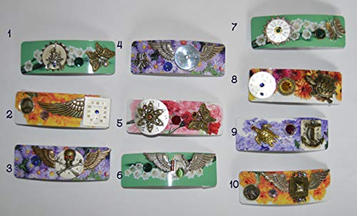 Colorful floral hair barrettes jewelry handcrafted unique art