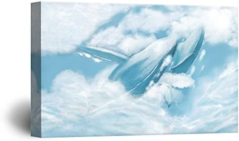 Hand Drawing Style Mystical Blue Whales Dancing in The Clouds