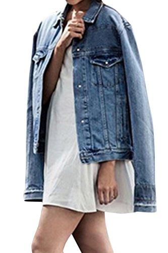 Lunghe Blu Giacche Fanvans A Delle Pulsante Donna Giacca Maniche Di Ragazzo Jeans wOAqH