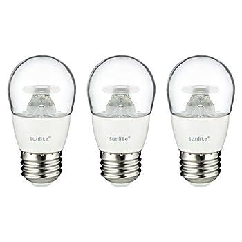Sunlite A15/LED/5W/DIM/CL/30K/CD/3PK Dimmable 3000K Medium Base Warm White LED Appliance A15 5W Light Bulb (3 Pack), Clear