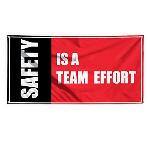(Safety Is A Team Efforts Outdoor Advertising Printing Vinyl Banner Sign With Grommets - 3ftx6ft, 6 Grommets)