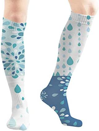 Set Four Raindrops S Nature Tube Knee High Socks 50Cm Unisex Over-The-Calf Tube Sports Socks Extra Long Compression Stocking