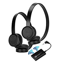 GOgroove BlueVIBE 2 TV Wireless 2 Pair Headphones TV Connection Kit with Plush Lightweight Ear Cups , Bluetooth Transmitter and Easy Setup - Great for Parents Who Don't Want To Wake Sleeping Children
