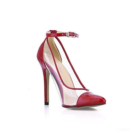 Chaussures Cliquez Rouge Transparent Sur Colle La chaussures Wine Point Automne Banquet Verre Et De Red Dans Haut Le Blanc Talon Nouveau rqCOwqpX