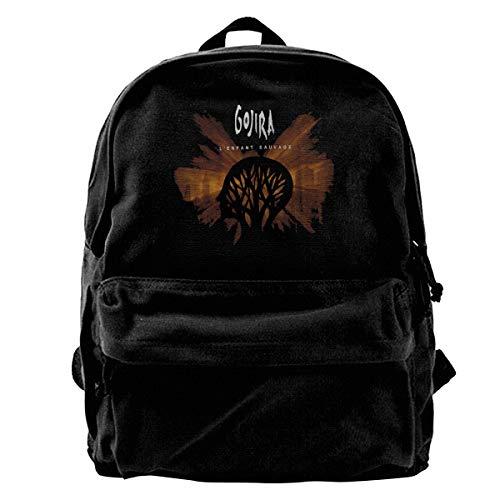 TIMMEAGE Gojira L'Enfant Sauvage Unisex Fashion Black Backpack Canvas School Bag Casual Travel Bag